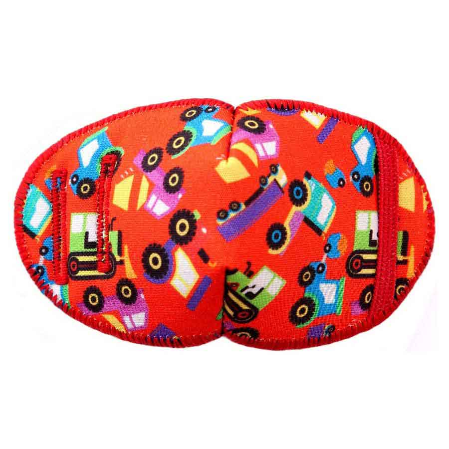Big Red Trucks soft reusable fabric eye patch for children with glassesn