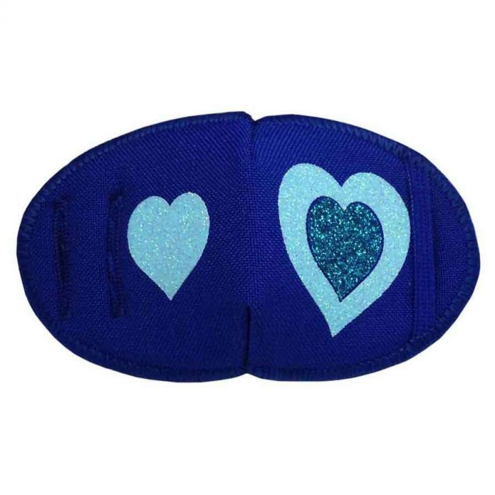 Glitter Hearts on Blue eye patch for glasses Kay Fun Patch