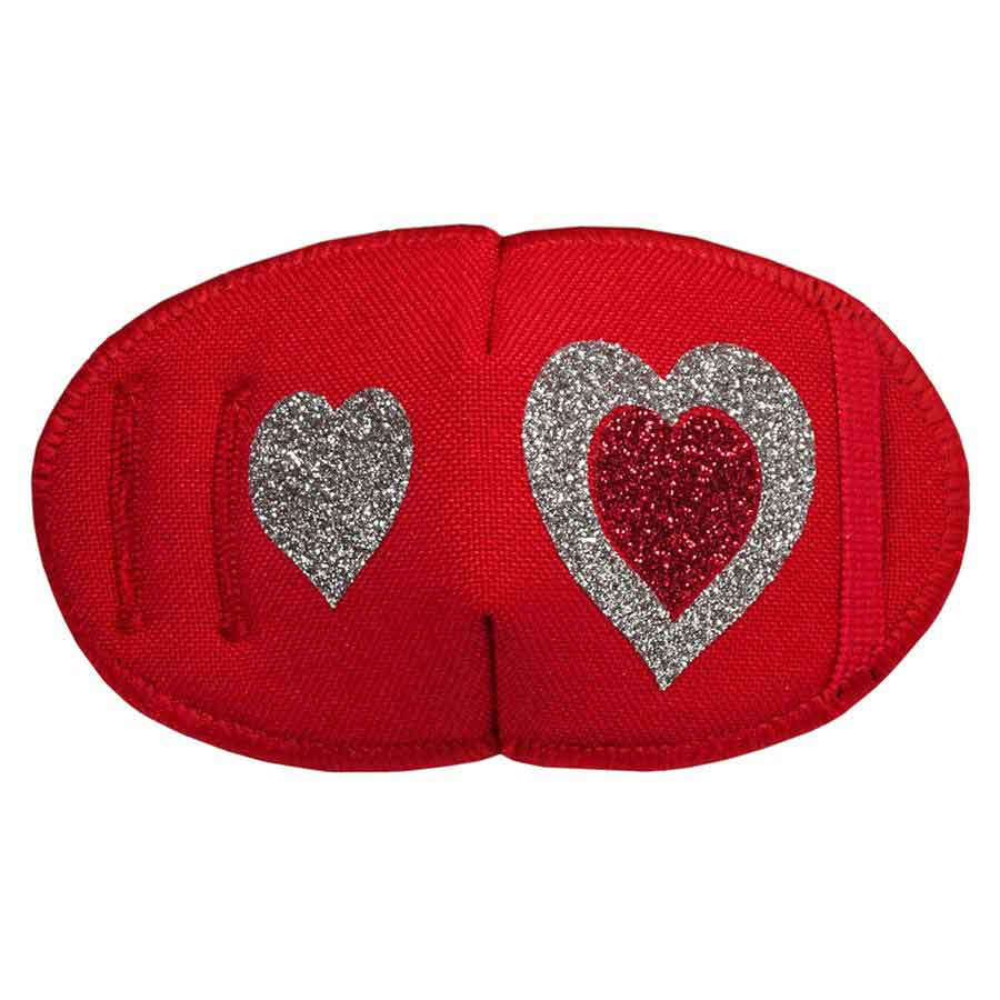 Glitter Hearts on Red eye patch for glasses Kay Fun Patch