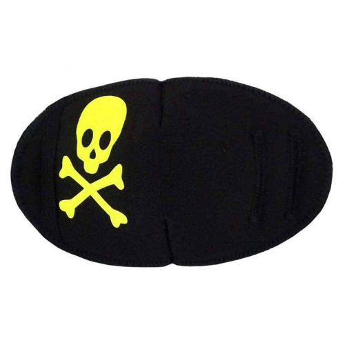 Pirate Fun Patch Neon Yellow soft reusable fabric eye patch for children with glasses