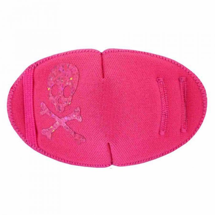 on Pink soft reusable fabric eye patch for children with glasses
