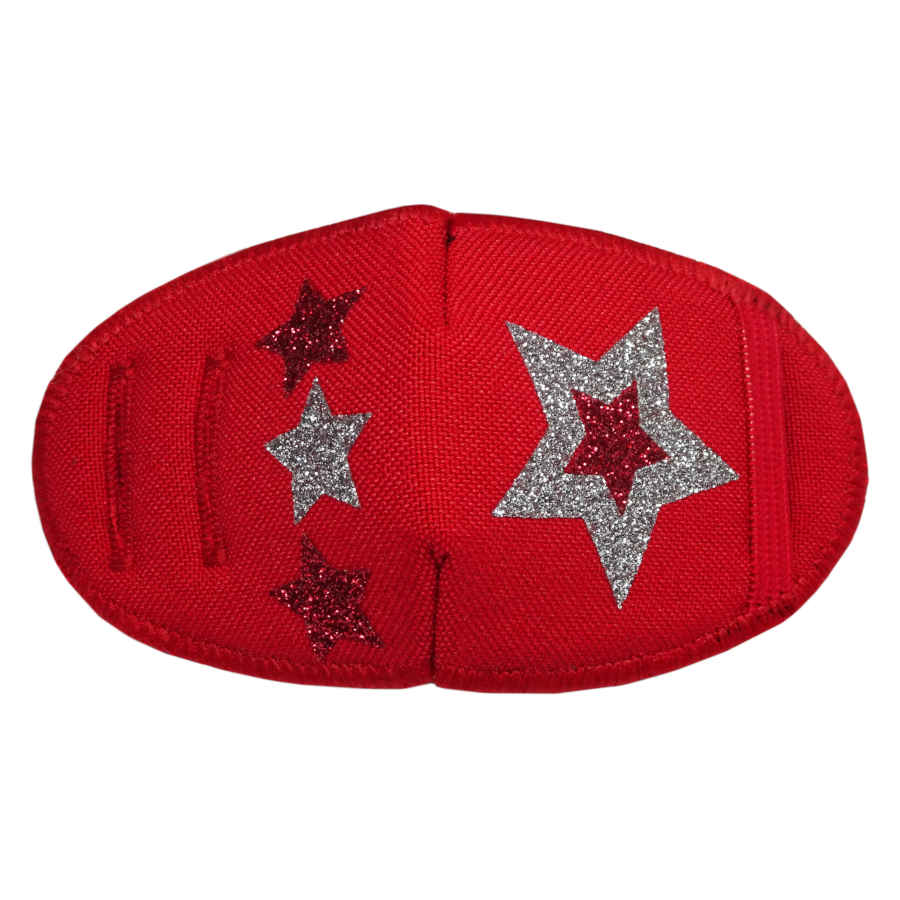 Glitter Stars on Red soft reusable fabric eye patch for children with glasses